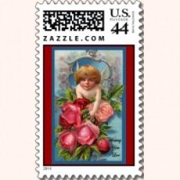 Vintage Cupid with Roses Postage