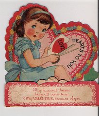 Sweet Old Style Valentine's Day Card coy and sweet