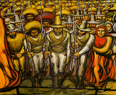 The Revolutionaries, David Alfaro Siquieros, Palacio de Bellas Artes, Mexico City