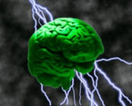 Computer-generated image of electrical charges going in and out of a green brain with storm clouds in the background