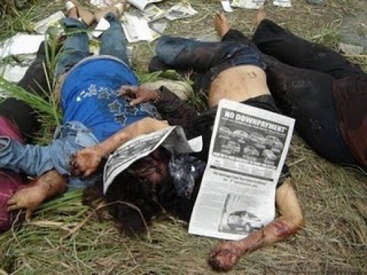 Innocent people killed in Maguindanao occurred few days ago in Mindanao, Philippines. Esmael Mangudadatu whose wife, two sisters and two lawyers were among the 57 killed while en route to file his certificate of candidacy for governor of Maguindanao