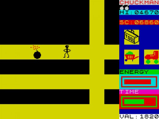 Chuckman needs a toolkit to dispose of that bomb on the ZX Spectrum
