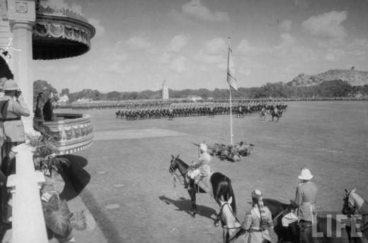 HEH. Mir Osman Ali Khan reviewing the troops march from the royal box