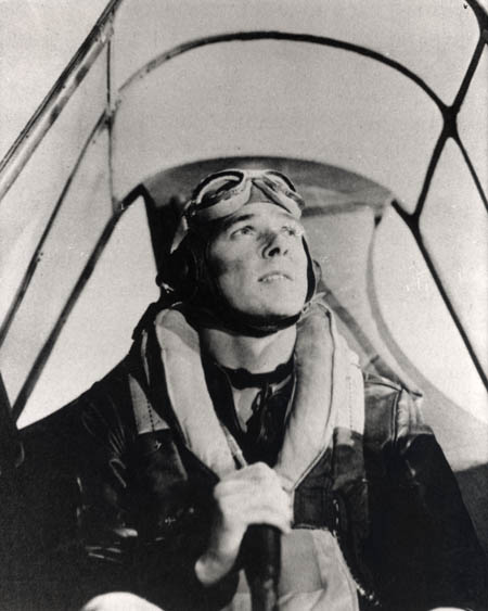 "This shot of Reagan was used in a training film to instruct American flyers against the plane called the ""Japanese Zero."""