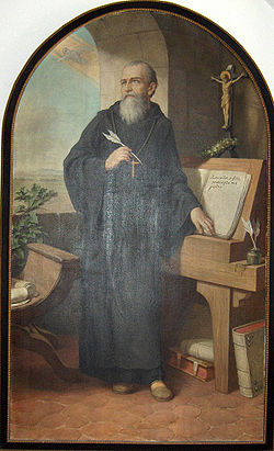 Saint Benedict writing the Rule, painting 1926 by Hermann Nigg (1849-1928)