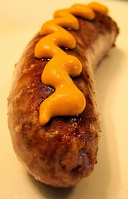 Bratwurst and mustard- Simple, but delicious.