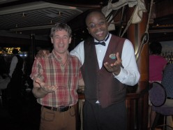 My BIG friend: Sammy 'da bar mon' (I use to tempt my own fate by smuggling good food to him from the WindJammer Cafe).