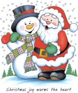Santa Claus hugging Frosty-The Snowman (as cartoon characters) http://www.thetshirtgame.com/