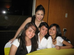 Justine ( standing) with her college friends