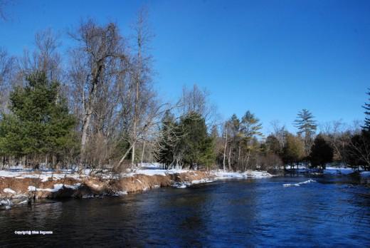 The Pere Marquette River at Barothy Lodge, near Walhalla, Michigan.