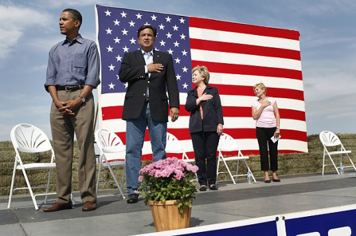 Barack Obama places his hands in the wrong place during the singing of the National Anthem.  He is not electable and not fit to be the president of the United States.