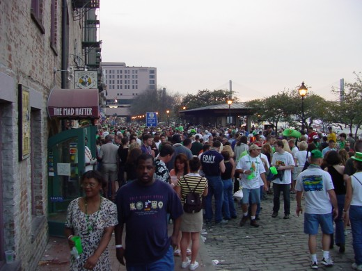 St. Patrick's Day in Savannah - River Street.