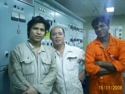 Second Enginner with Cadet and Oiler in Engine Control Room