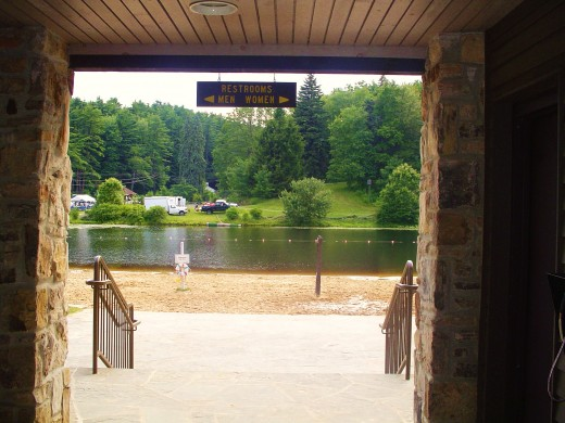 The entranceway to the beach, a black lake  that is clear, but tea colored and refreshing, take a nest tea plunge!