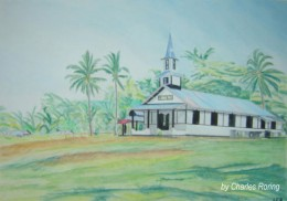 printed postcard of Lahai Roi Church which I drew using Derwent Watercolor Pencils.