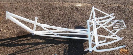 Design of the frame is from a 20 Mountain bicycle frame