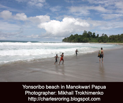 The beautiful Yonsoribo beach in Manokwari a place in Papua where foreign tourists like to come