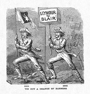 Political cartoon which depicts Democratic Party alliances with the KKK violence and white leagues