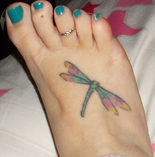Another dragonfly foot tattoo design Source:
