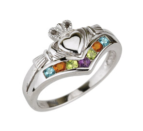 Claddaugh Multi colored stones Ring