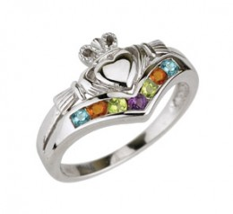 Claddaugh Multi colored stones Ring
