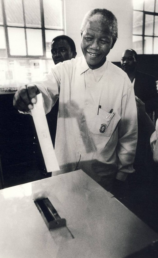 Mandela votes for the first time in his life. He was 76 years old.