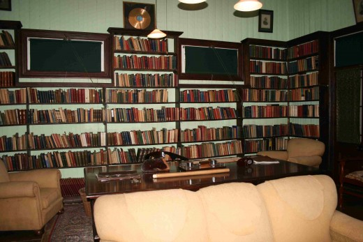 Smuts's desk in his study, surrounded by some of his huge collection of books
