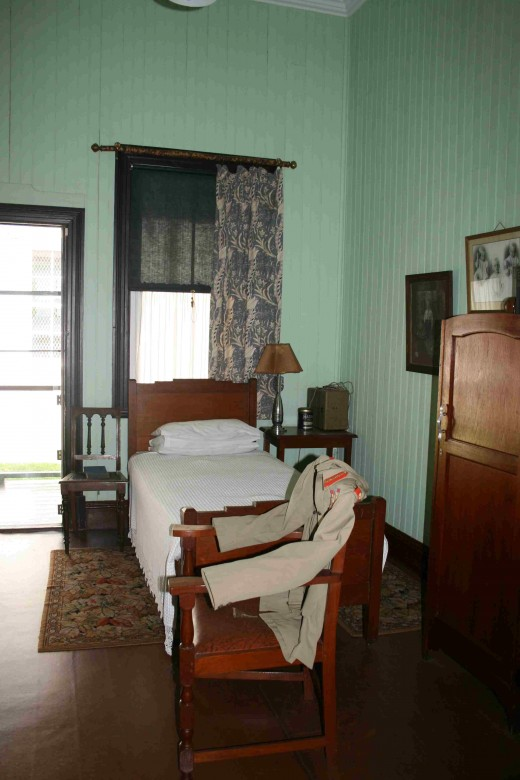 Smuts's bedroom with his uniform jacket on the chair