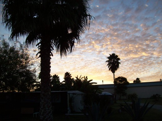"""This was the view one evening at the campsite I called HeavenO because the owner Leonso Canales has campaigned the greeting """"HeavenO"""" instead of """"Hello"""" According to a document He showed me """"HeavenO"""" is the Official Greeting of Kingsville. His campai"""