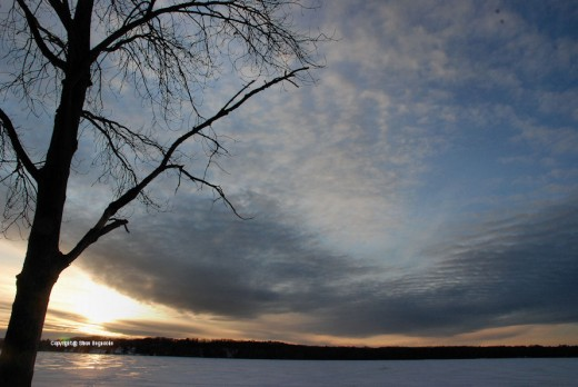 About a mile from here is Hamlin Lake and this scene, shot Feb. 8, shows the front that brought us snow arriving in the evening.