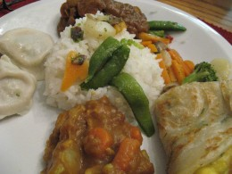 rice, dumplings spring rolls