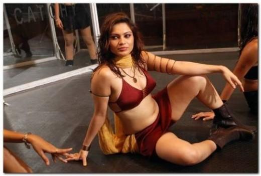 Tamil Model - Ragasiya in Red Dress - Navel Show