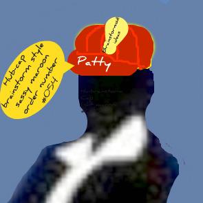 Patty in her sassy maroon Thinking-cap.