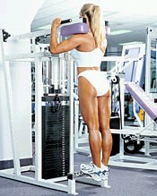 Standing calve machine helps to develop the Gastrocnemius muscle