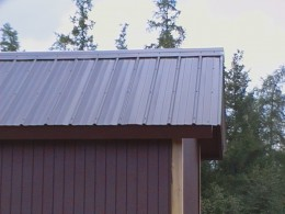 The only new material used on this shed is the metal roofing. All the other wood components are salvaged from demolition of a different building.