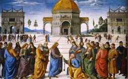 """CHRIST HANDING THE KEYS TO ST PETER"" PAINTING BY PIETRO PERUGINO"