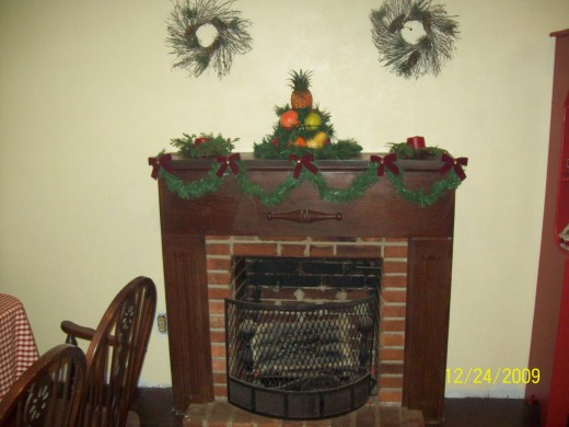 Holiday decorations in my breakfast room.