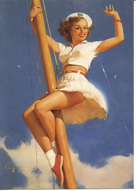 Naughty Nautical Look - Old Fashioned Pinup girl up the Mast (watch out for splinters!)