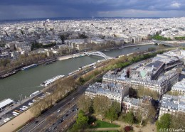 River Seine from atop Eiffel Tower.  When you sail the river by boat you can travel the whole city of PARIS