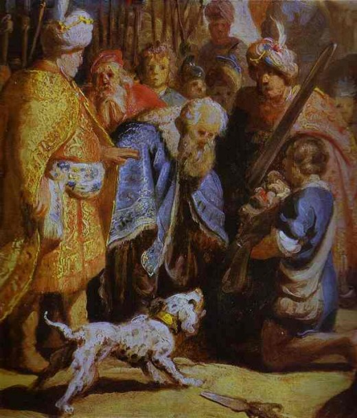 David Presenting the Head of Goliath to King Saul. 1627 - photo courtesy of abcgallery.com