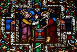 The presentation of Christ in the elder Bible window. Cologne, Germany