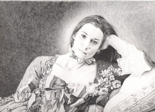 My portrait of the daughter of a friend, inspired by Boucher's painting.