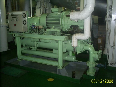 Refrigeration Unit Showing Compressor, Condenser, etc.