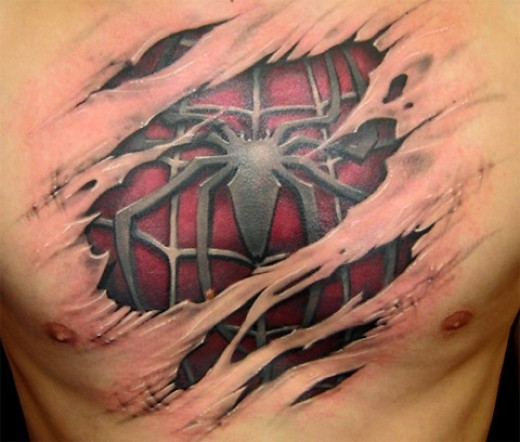 Do ya loves my spiderman tattoo on my chest, who says tis not me,