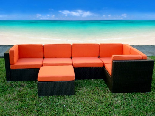 Modular resin wicker outdoor furniture can be arranged and re-arranged to fit whatever space you place it.
