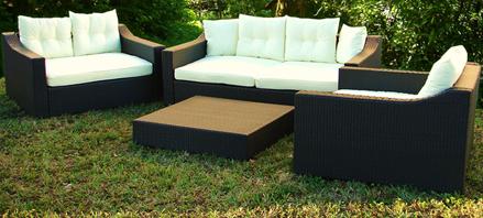 Sofa, Love seats and ottoman.