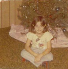 Gloria at Christmas time around 1971