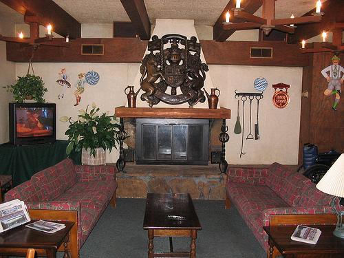 The lobby of the Helendorf in Helen, GA.
