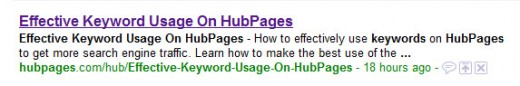 This screenshot shows how my Title and Summary text are used on Google. #1 result for.. take an educated guess.
