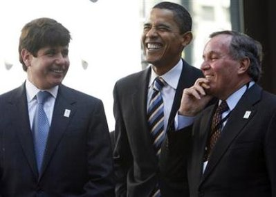 Rod Blagojevich, Barack Obama, and Richard Daley during a rally in Chicago , April 16, 2007.(Photo Reuters)